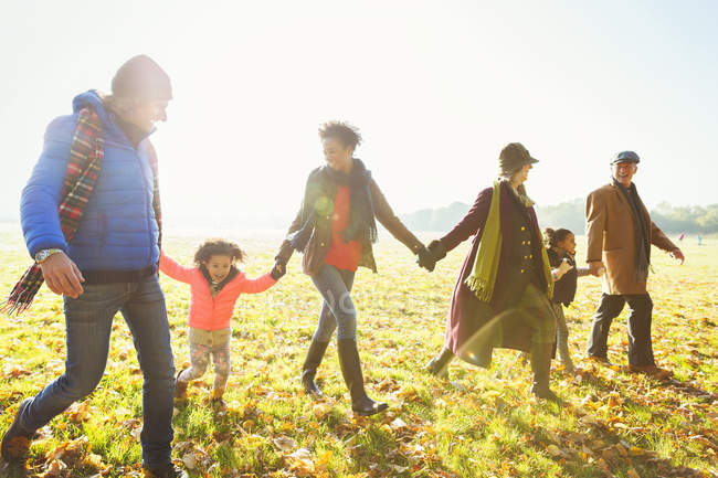Family holding hands walking in sunny autumn park — Stock Photo