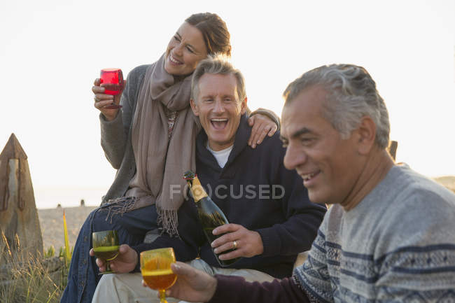 Игривые взрослые друзья пьют шампанское на пляже — стоковое фото