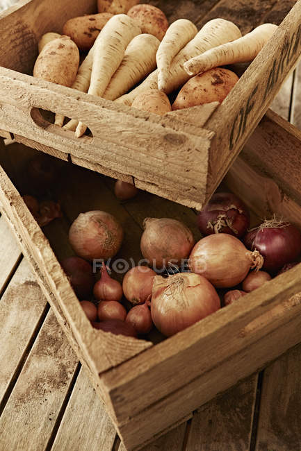 Still life fresh, organic, healthy root vegetables in wooden crates — Stock Photo