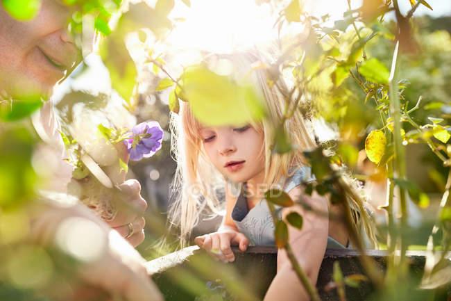 Curious girl gardening, planting flowers in sunny garden — Stock Photo