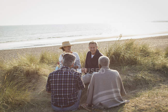 Mature couples relaxing on sunny beach — Stock Photo