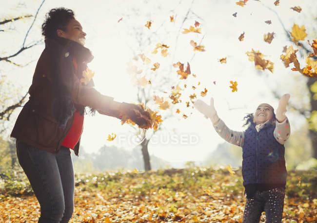 Madre juguetona e hija lanzando hojas de otoño en un parque soleado - foto de stock
