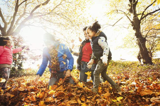 Juguetón joven familia jugando en otoño hojas en el parque soleado - foto de stock