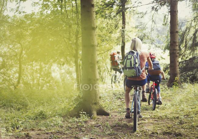 Family mountain biking on trail in woods — Stock Photo