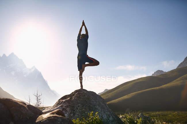 Junger Mann Auswuchten in Baumpose auf Felsen im sonnigen, abgelegenen Tal — Stockfoto