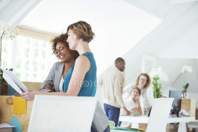 Five people at meeting in modern office — Stock Photo
