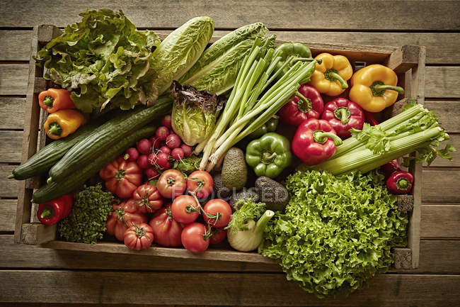 Still life fresh, organic, healthy vegetable harvest variety in wood crate — Stock Photo