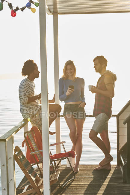 Young adult friends hanging out on sunny summer houseboat — Stock Photo