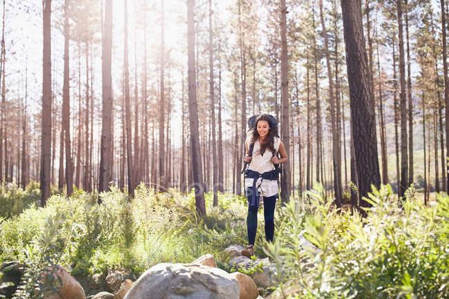 Giovane donna sorridente con lo zaino trekking nel bosco pieno di sole — Foto stock