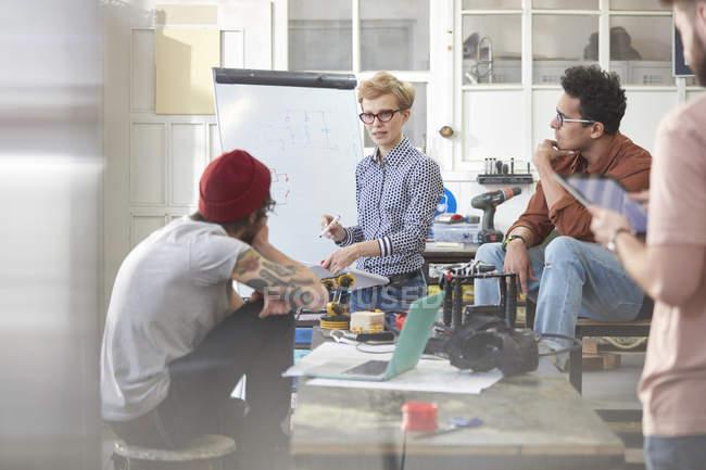 Designers meeting, brainstorming in workshop — Stock Photo