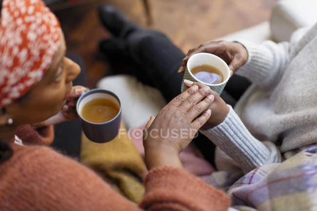 Жінки друзі говорили, пити чай — стокове фото