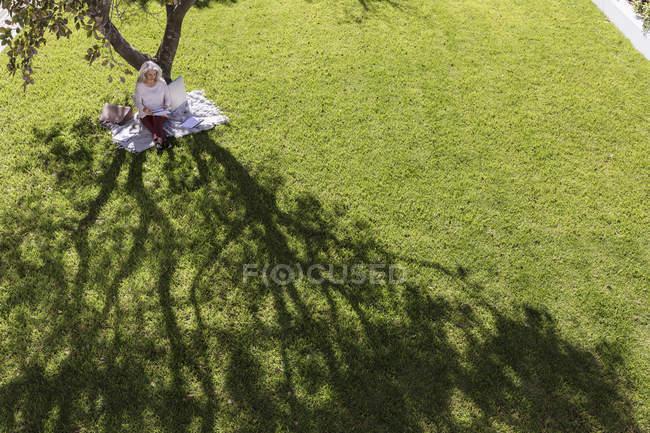 Imprenditrice che lavora sulla coperta sotto l'albero nel cortile soleggiato — Foto stock