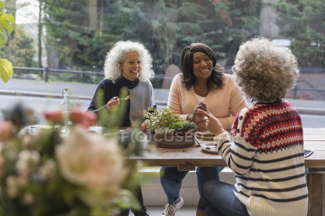Друзья-женщины разговаривают и обедают в кафе — стоковое фото