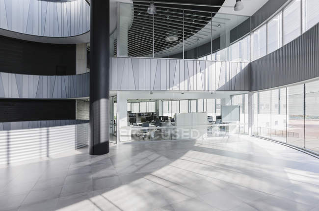 Modern architectural office lobby interior — copy space ...