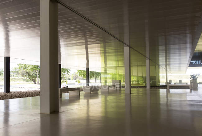 Modern office lobby indoors — office space, city life ...