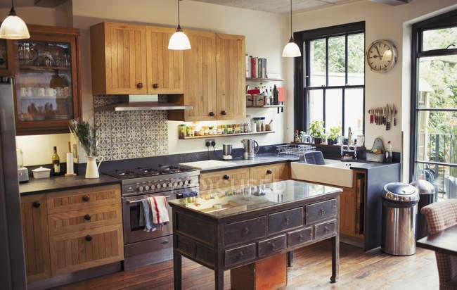 Home showcase kitchen indoors — Stock Photo
