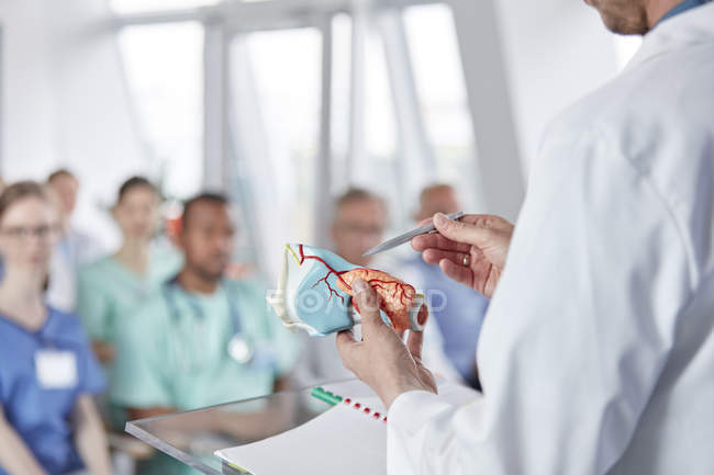 Surgeon leading conference at medical hall — Stock Photo