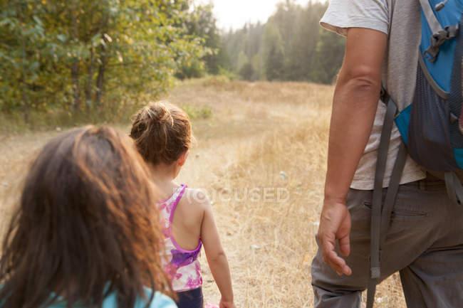 Батька і дочки походи на Сонячний шлях — стокове фото