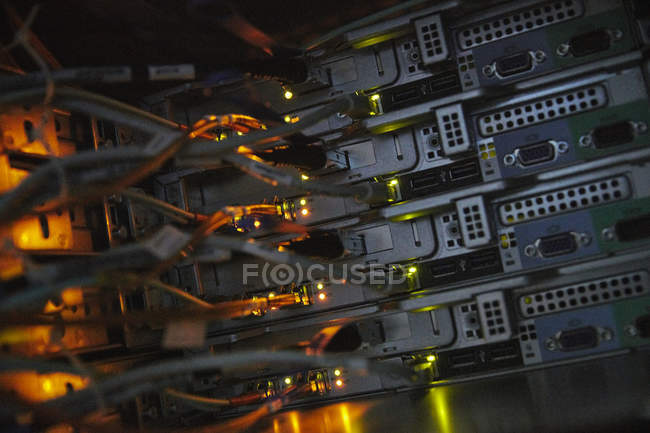 Server panels and cables — Stock Photo