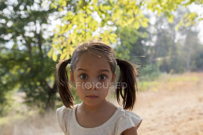 Portrait wide-eyed girl with pigtails in yard — Stock Photo