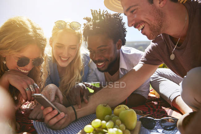 Junge Freunde SMS mit Handy, sonnigen Sommer-Picknick — Stockfoto