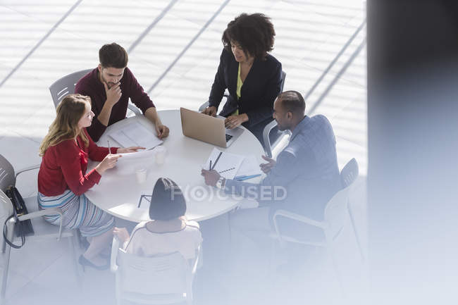 Business people planning, meeting at table in office — Stock Photo