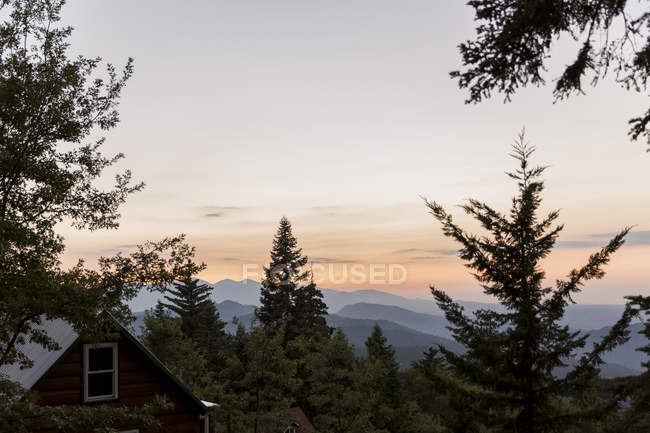 Tranquil silhouetted mountains beyond trees - foto de stock