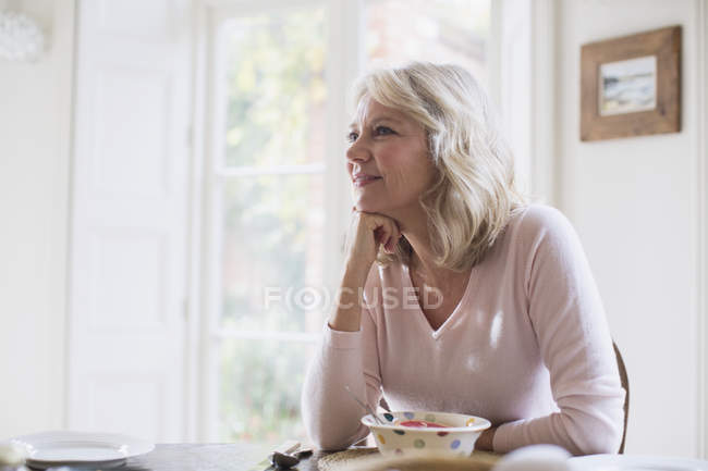 Mature woman satisfied