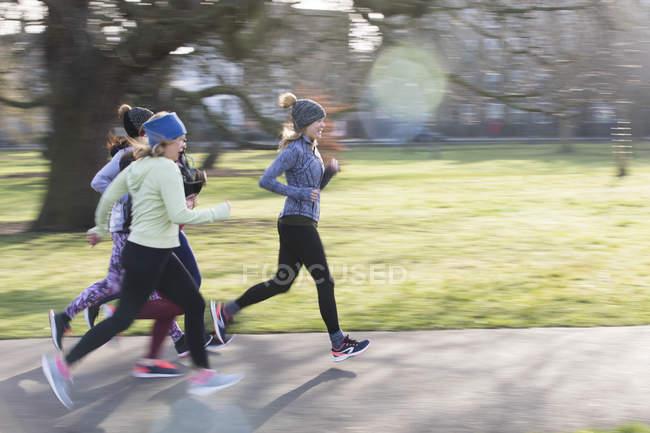 Läuferinnen laufen im sonnigen Park — Stockfoto