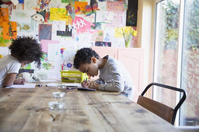 Брат и сестра окраски обеденным столом — стоковое фото