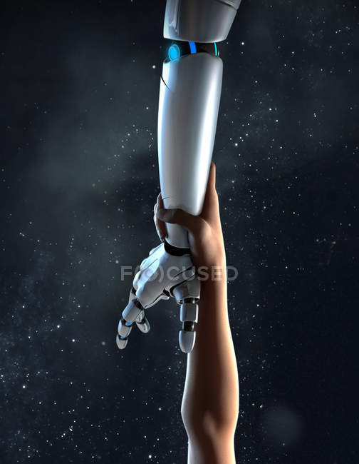 Computer generated image arm reaching for robotic arm — Stock Photo