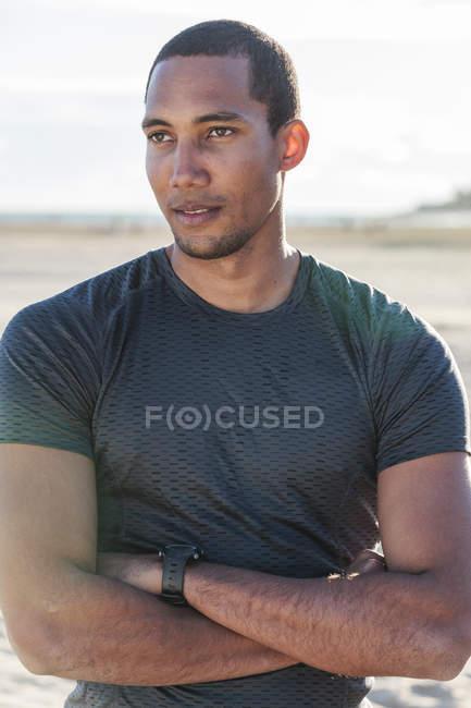 Portrait confident, fit male runner — Stock Photo