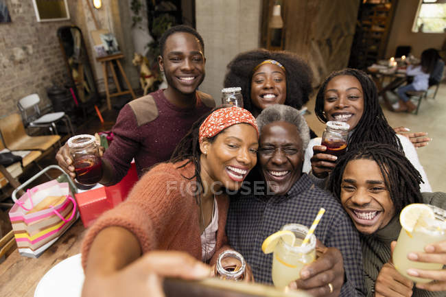 Happy multi-generation family taking selfie — Stock Photo