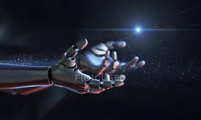 Equipo genera armas del robot de imagen extendidas - foto de stock