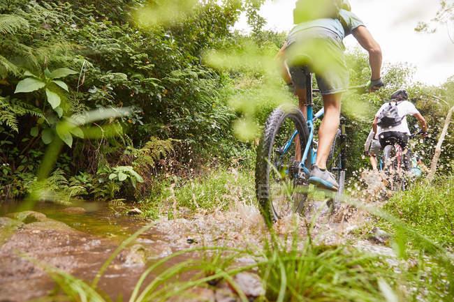 Людина на гірських велосипедах, хлюпалися брудно стежка — стокове фото