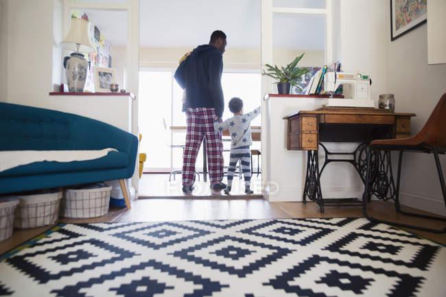 Visão traseira do pai e filho afro-americanos em casa — Fotografia de Stock