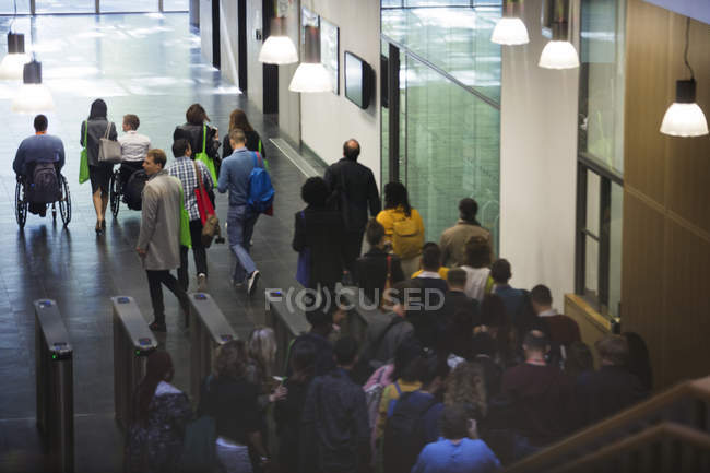 Business people leaving conference at modern office — Stock Photo