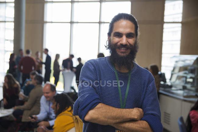 Portrait smiling man with beard at conference — Stock Photo