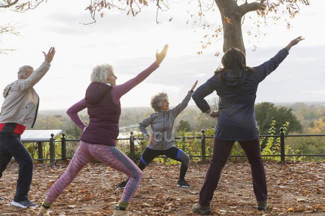 Anziani attivi che praticano yoga nel parco autunnale — Foto stock