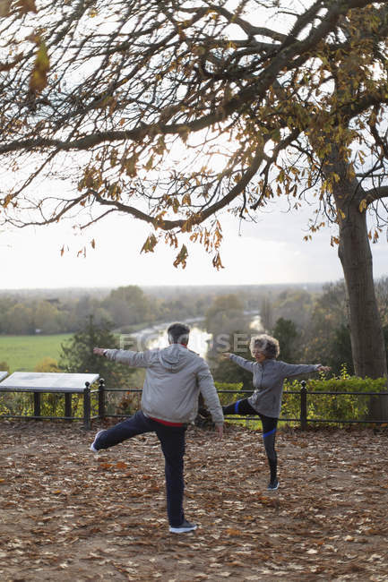 Active senior couple exercising, stretching in autumn park — Stock Photo