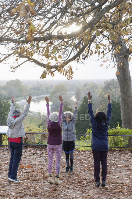 Active seniors practicing yoga, stretching in autumn park — Stock Photo