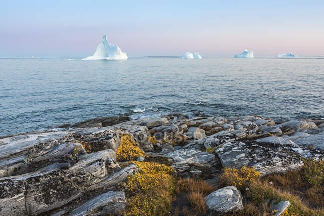 Icebergs no oceano, a tranquilo ilha de Disko, Groenlândia — Fotografia de Stock
