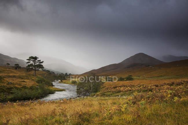 Ruhige Landschaft mit Bach, Glen Strathfarrar, Schottland — Stockfoto