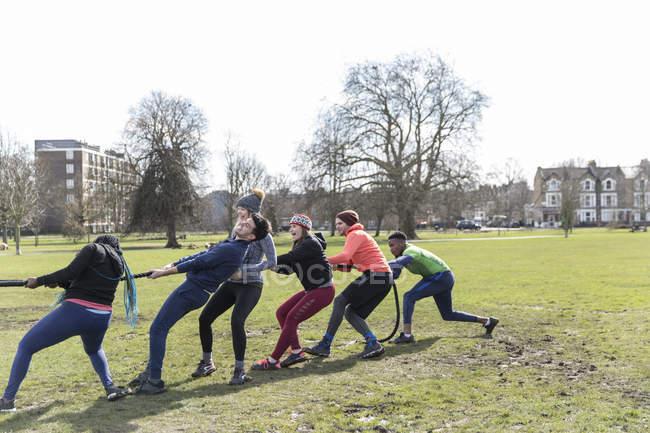Equipe determinada puxando corda no cabo-de-guerra no parque — Fotografia de Stock