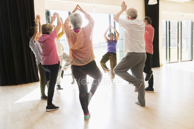 Active seniors exercising, practice yoga tree pose in circle — Stock Photo