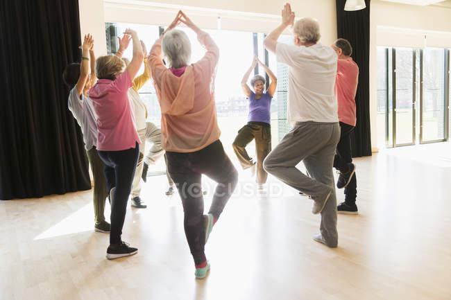 Aktive Senioren fit halten, Praxis Yoga Baumpose im Kreis — Stockfoto