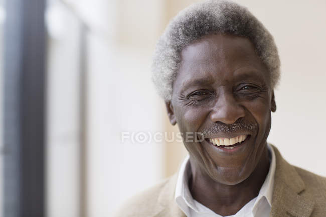 Portrait enthusiastic active senior man — Stock Photo