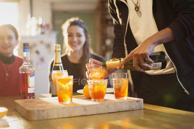 Junge Erwachsene Freunde machen cocktails — Stockfoto