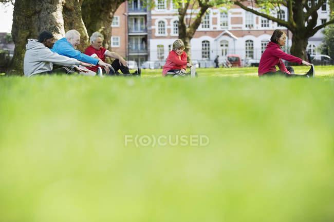 Aînés qui s'étend dans le parc — Photo de stock