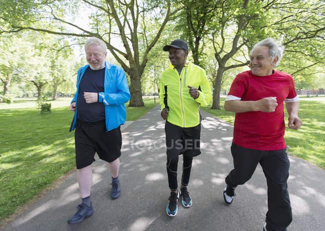 Active senior men friends power walking in park — стоковое фото